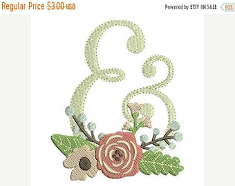 25% OFF Floral Ampersand Wedding Embroidery Design - Instant Download