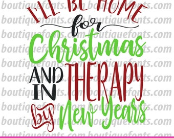 Home for Christmas SVG Cut File - Instant Download