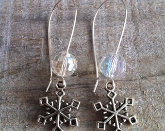 Snowflakes earrings large transparent silvery clasps