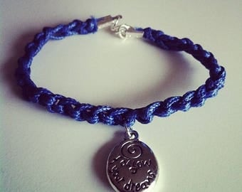Navy Blue cord bracelet with charm