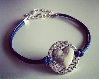 Navy Blue cord bracelet with heart