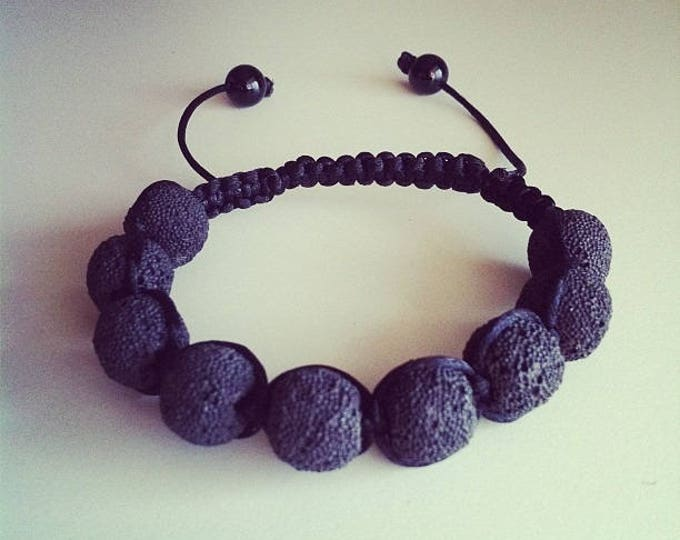 Adjustable Shamballa bracelet genuine volcanic lava