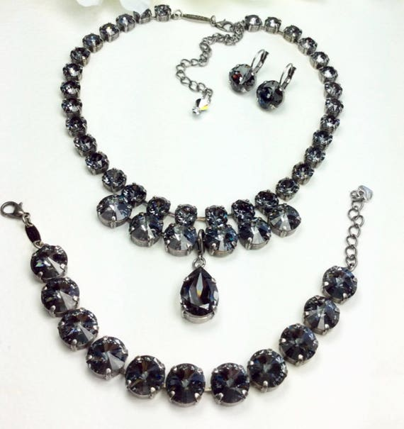 "Swarovski Crystal 12MM /8.5mm Necklace - Designer Inspired - Silver Night ""Goddess"" Necklace, Pear Shape Drop, &  Bracelet - FREE SHIPPING"