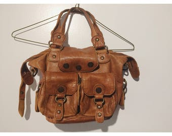 Cynthia Rowley soft brown distressed leather handbag.