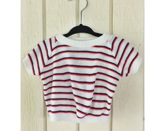 1970s Childrens LITTLE LAMB Sweater Navy/Red. 12 months