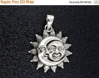 ON SALE Sterling Silver Sun and Moon Pendant Amulet Pagan