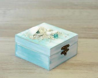 Beach Wedding Ring Box Personalized Ring Bearer Box White Blue Seashell Ring Bearer Nautical wedding Box Pillow Alternative Engagement ring