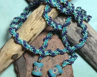 Teal Beaded Necklace Purple Bead Necklace Bead Lariat Necklace Bead Stitch Necklace Beaded Rope Necklace Beadwork Necklace