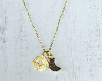 Druzy Moon Necklace // Compass Moon Charm Necklace