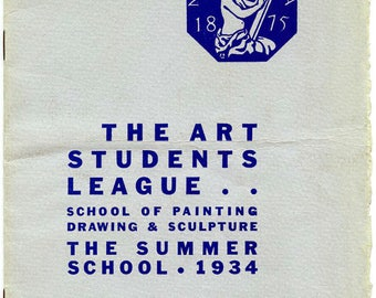 1934,  Art Students League, Summer School Catalog, Robert Brackman, Harry Sternberg, George Bridgman, etc.