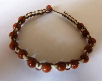 leather bracelet for men with Sun beads