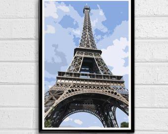 Eiffel Tower 4 - Paris Landmark Pop Art Print and Poster France Monument Landmark Europe Travel Home Decor Canvas
