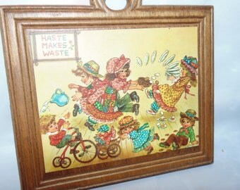 "Vintage Wooden wall hanging Haste makes waste Early America scene Kids colorful retro Decor 6"" x 6"""