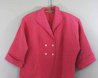 vintage pink quilted bed jacket by Linnex Corp New York size medium