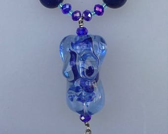 Handmade glass lampwork goddess and Lapis necklace. OOAK statement fertility crystals baby shower pregnancy