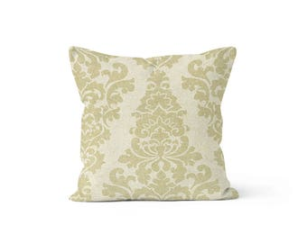 Beige Damask Pillow Cover - Berlin Cloud - Lumbar 12 14 16 18 20 22 24 26 Euro - Hidden Zipper Closure