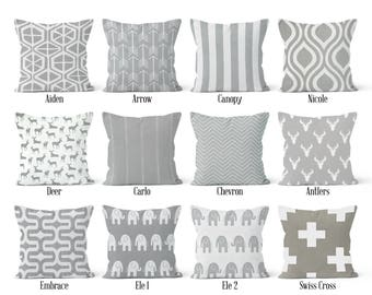 Grey Pillow Cover, Decorative Throw Pillow Covers, Euro Pillow Sham 16 x 16, 18 x 18, 20 x 20, 22 x 22, 24 x 24, 26 x 26