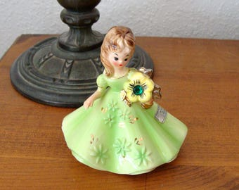 Vintage Josef Originals Birthday Girl, May with an Green Emerald Rhinestone Flower, Black Eyes, Lovely!