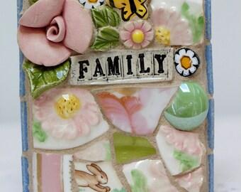 FAMILY, mosaic, pique assiette, mosaic art