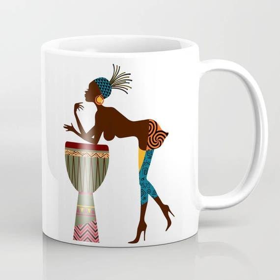 African Woman Unique Coffee Mug, Afro Ceramic Mug, Afro Tea Mug, Drinking Mug, Black Woman Cool Coffee Mugs, African Ceramic Mug