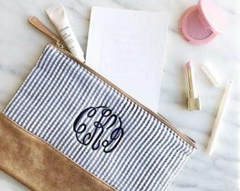 Monogrammed Seersucker Makeup Bag, Stocking Stuffer, Gift under 20, Zippered Bag, Pen Bag, Coin Purse, Monogrammed gift, pencil pouch