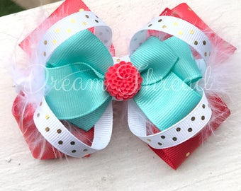 Coral, Mint, Gold, White, Polka Dot Double Stacked Loop Boutique Double Stacked Hairbows, Baby Boutique Bows, HairBows