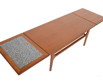 Danish Mid Century Modern Refinished Extension Coffee Table in Teak With Cane Rack