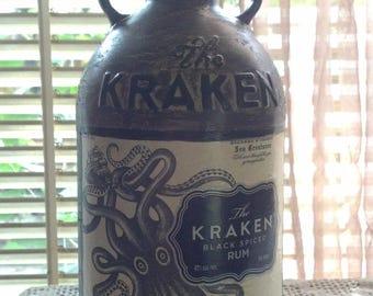 The Kraken Rum Glass Bottle Hand Painted Decanter 1Liter Size