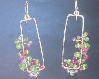 Pink ruby, peridot, vessonite hammered drop earrings Bohemian 185