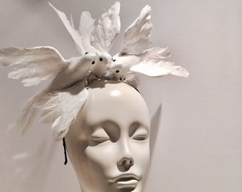 White Fascinator- Diner en Blanc- Wedding Doves- Bird headpiece -Steampunk- Halloween -Bird Costume - white Headpiece -white Doves -Love