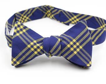 Navy & Yellow Plaid Bow Tie (Self-Tie, Button Back)