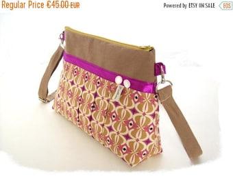 SALE handbag crossbody beige and purple shoulder bag pleated vintage style fabric