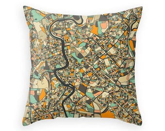 ROME MAP, Colorful Throw pillow for your home decor (dark version)