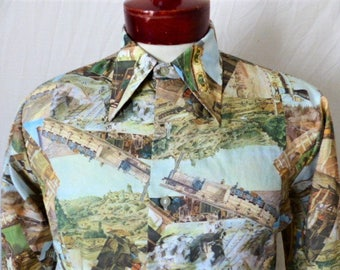 vintage 70's Trafalgar beige green blue victorian railroad scene big collar disco shirt grid pattern print long sleeve button up medium