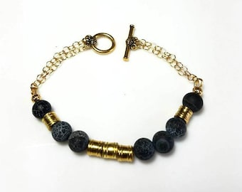 LOVE in Morse Code Gold Bracelet Crackle Black Agate Stone Beaded Bracelet Essential Oil Diffuser Bracelet Customized Personalized Jewelry