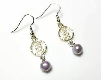 Pale Purple Freshwater Pearl Silver Earrings Hypoallergenic Earrings Nickel Free Earrings Leaves Branch Earrings Dangle Drop Beaded Jewelry