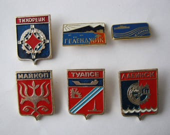Set of vintage soviet USSR  pin badges Coat of arms of cities