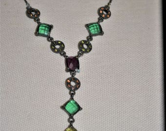 Stained Glass, Vintage Stained Glass Necklace, Faceted Glass Connectors, Pronged Glass Beads, Purple, Green and Yellow Glass, Art Deco
