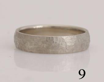 White gold wedding band, size 9 gold band, also custom sizes 8 thru 13, # 795.