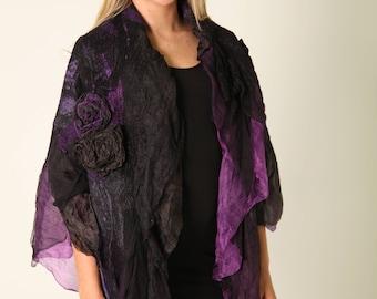 The SALE Romantic Boho  Nuno felted scarf, Artisian Stole, Floral Luxurios Silk Scarf, Felt Shawl, Textured Silk Wool