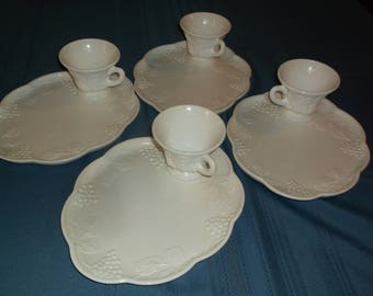 Eight piece vintage, snack set, milkglass, decorated with bunches of grapes and grape leaves.