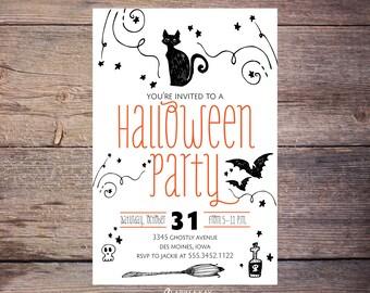 Printable Halloween Party Invite, Halloween Party Invitations, Halloween Invites, Costume Party, Adult Halloween Party Printable Invite