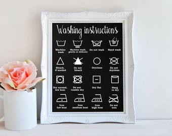 Washing Instructions Sign, Laundry Room Decor, Home Decor, Laundry Schedule, Laundry Home Decor, Housewarming Gift, Washing Poster, A-1306