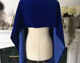 60s Blue Velvet Bow Neck Evening Wrap