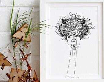 Llama A5 Art Print / Lama Print / Animal Illustration / Giclée small Art Print