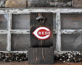 Cincinnati Reds  Rustic Wood Bottle Opener with cap catcher