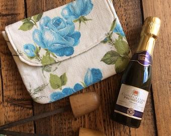 Vintage blue rose barkcloth clutch bag