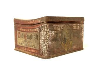 Antique Tobacco Tin - Old English Curve Cut - Rustic Tin - Tobacciana - 1910s - Revenue Stamp - Collectible Tobacco - Square Storage Tin