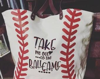 Canvas Baseball Tote // Baseball bag // Softball Bag// Softball Tote