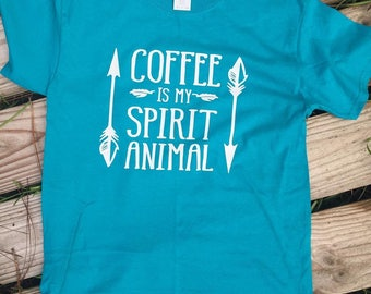 Coffee is My Spirit animal shirt // Coffee Shirt // Arrow shirt // Coffee Tank // Racerback Tank